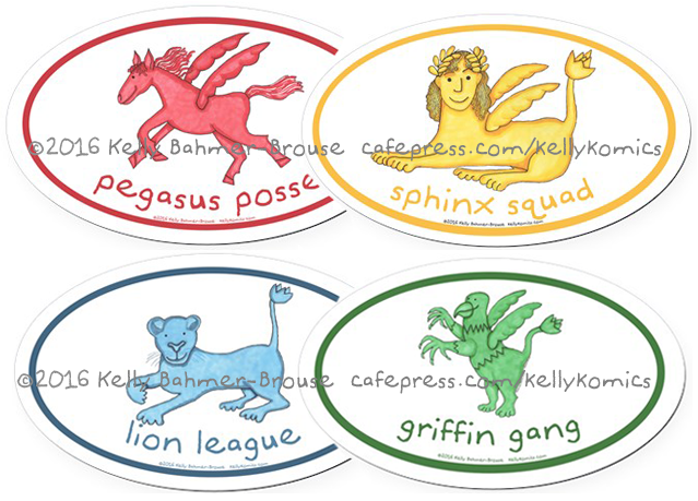 Oval car magnets featuring class animals