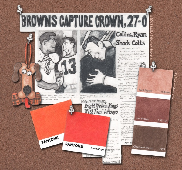 a design board featuring souvenirs from successful Cleveland Browns teams of the past, accompanied by paint chips representing the team's orange & brown colors
