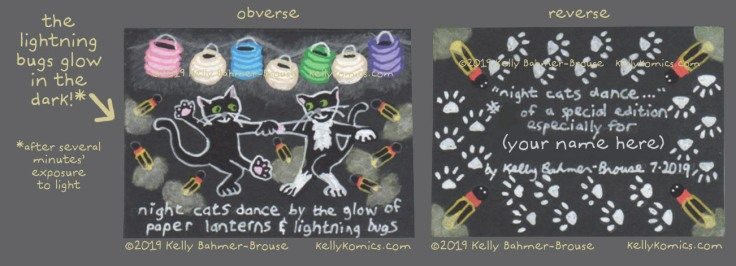 Night Cats dancing Artist Trading Card, obverse & reverse