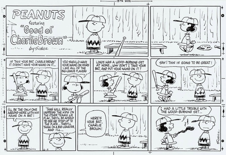 "Lucy van Pelt with burned bat: ""I had a little trouble with the wood-burning set..."""