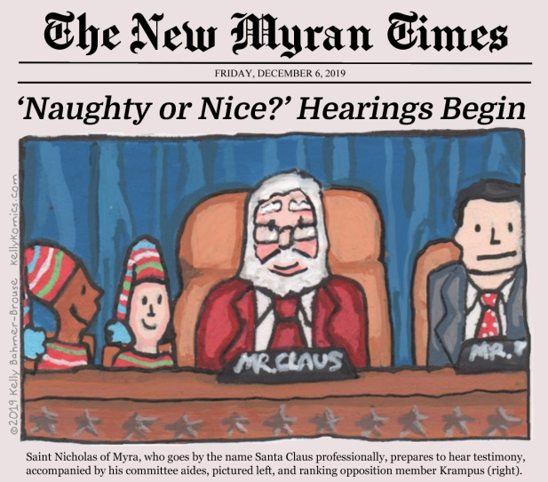 Saint Nicholas of Myra depicted as a modern-day chairman of a Congressional committee investigating who is naughty and who is nice