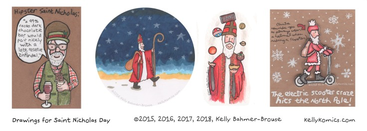 Various illustrations of Saint Nicholas by Kelly Bahmer-Brouse