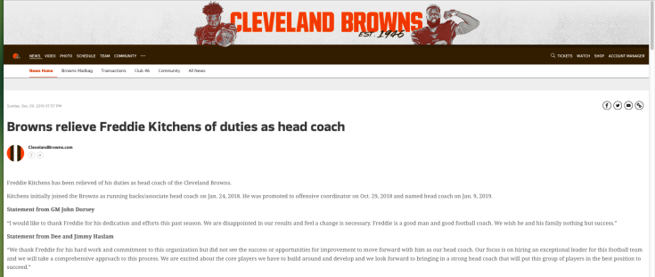 the Cleveland Browns' announcement of the firing of head coach Freddie Kitchens, December 28, 2019