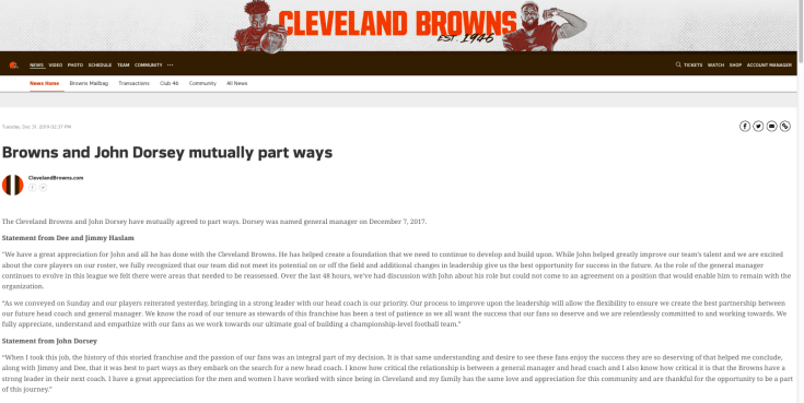 screen shot of Browns' announcement that GM John Dorsey is leaving the team by mutual agreement