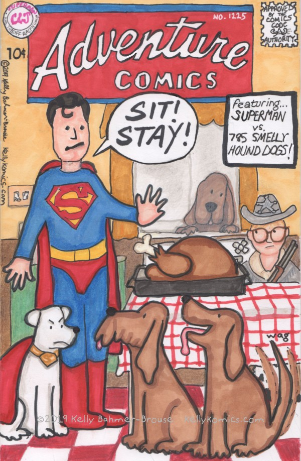 Superman, Krypto, and Sheriff Ralphie protect the Parkers' Christmas turkey from 785 smelly hound dogs.