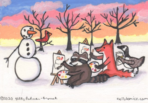 A raccoon, red fox, and Canada goose paint/sketch a snowman during a winter sunrise